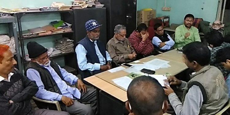 Various leaders of HPC paper mill revival action committee addressing the media in Silchar on Thursday evening. Photo: Aparna Laskar