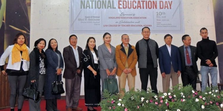 SCERT director T  Sekhose and officials of Nagaland Education Association during the National Education Day programme in Kohima. Photo: Northeast Now