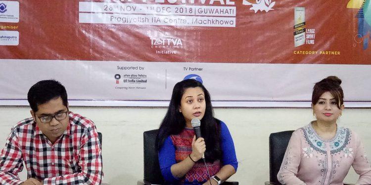 Tanushree Hazarika (centre), festival director of Sixth Brahmaputra Valley Film Festival addressing media at Guwahati Press Club in Guwahati in November 22, 2018. Photo: Northeast Now
