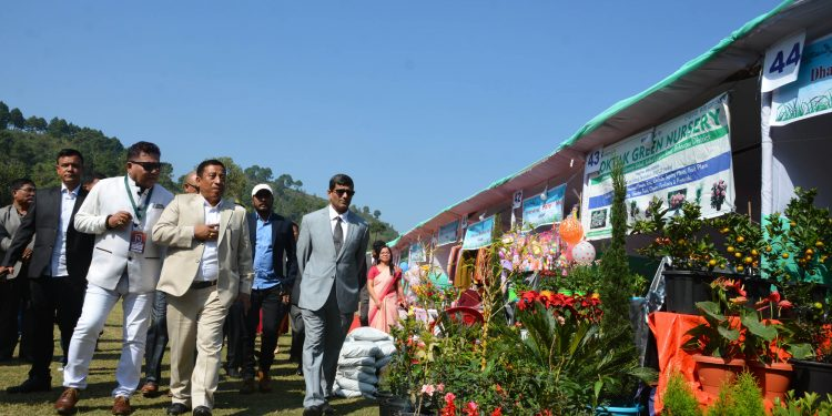 forest minister Th Shyamkumar led MLAs and officials at Keibul Lamjao in Manipur inspecting the stalls during opening of sangai festival on wednesday