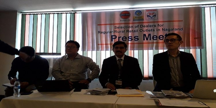 IOCL, BPCL and HPCL officials at a press conference in Dimapur on Sunday. Photo:  Bhadra Gogoi
