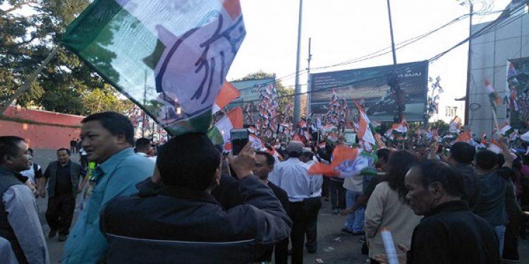 Congress manifesto release function at Vanapa Hall in Aizawl on Thursday. Photo: Sangzuala Hmar