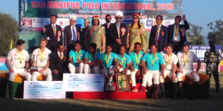 India (B) and England polo teams after the 12th Manipur Polo International, 2018 at Imphal Polo ground on Thursday. Photo: Sobhapati Samom