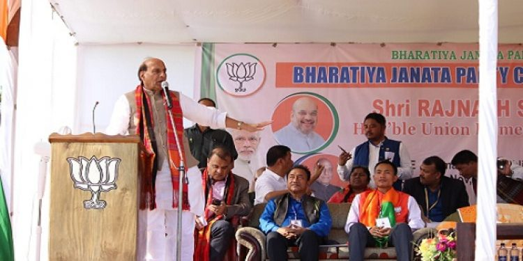 Union Home Minister Rajnath Singh  campaigning in southern Mizoram district of Siaha on Saturday. Photo: Sangzuala Hmar