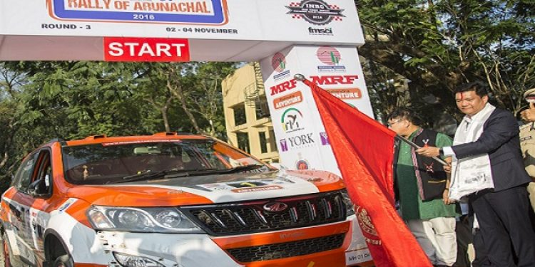 Arunachal Chief Minister Pema Khandu on Friday flagged off the third round of MRF Federation of Motorsports Clubs of India (FMSCI) Indian National Rally Championships-2018 from the Dorjee Khandu State Convention Centre in Itanagar. Photo: Northeast Now
