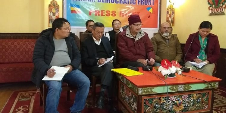 A view of the press conference by Sikkim Democratic Front. Image credit - Northeast Now