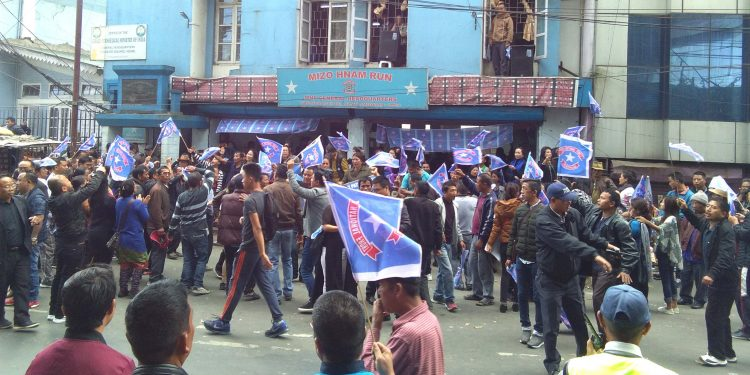 Jubilant MNF supporters celebrating victory in front of party office in Aizawl on Tuesday. Image credit: UB Photos