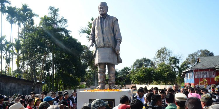 The statue of music maestro Bhupen Hazarika was unveiled at Bolung in Lower Dibang Valley in Arunachal Pradesh. Image credit: UB Photos