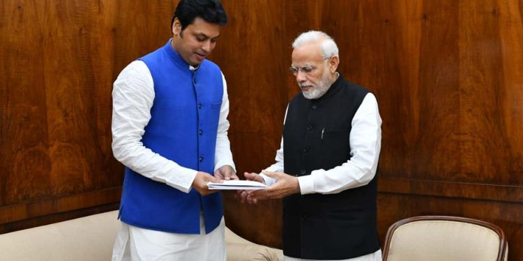 Biplab Kr Deb with Modi