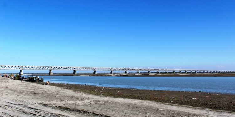 Country 's only fully welded Bogibeel Bridge in Assam. Photo: Northeast Now.