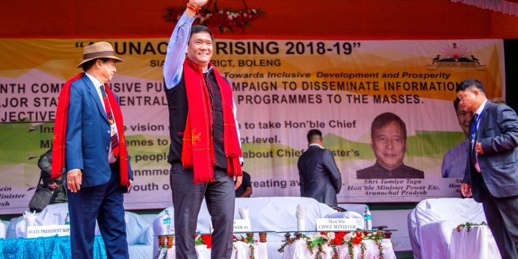 Arunachal CM, Pema Khandu at Boleng, headquarter of Siang district . Photo: Northeast Now.