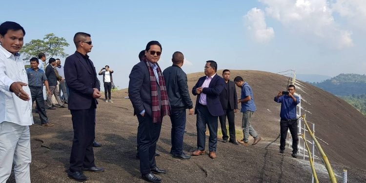 Chief Minister Conrad K Sangma visits the newly discovered Rongma Gitil Eco-Tourism destination in Kharkutta on Sunday.