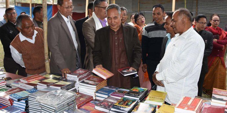 Dy CM Y Joykumar at Imphal book fair on Saturday.