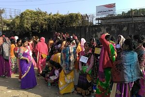 Female candidates waiting since wee hours of the morning outside ISBT Silchar
