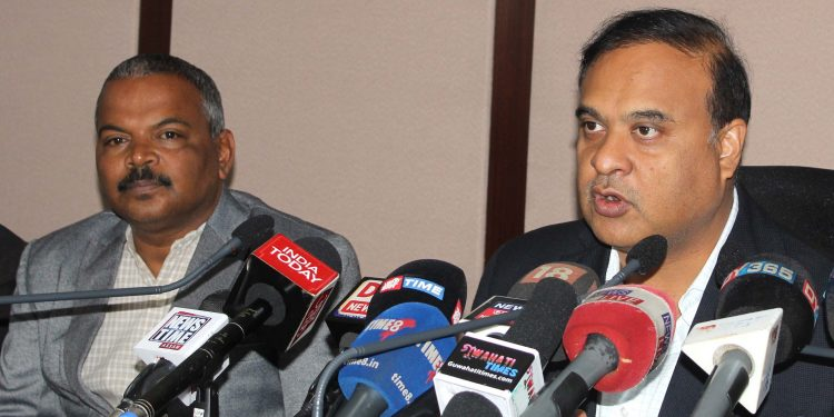 Health Minister Himanta Biswa Sarmah addressing a press conference in Guwahati on Wednesday. Image credit: UB Photos