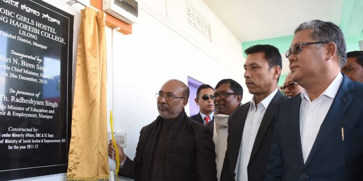 Manipur Chief Minister N Biren Singh inaugurates separate boys' and girls' hostels  at Lilong on December 28, 2018. Image: Northeast Now.