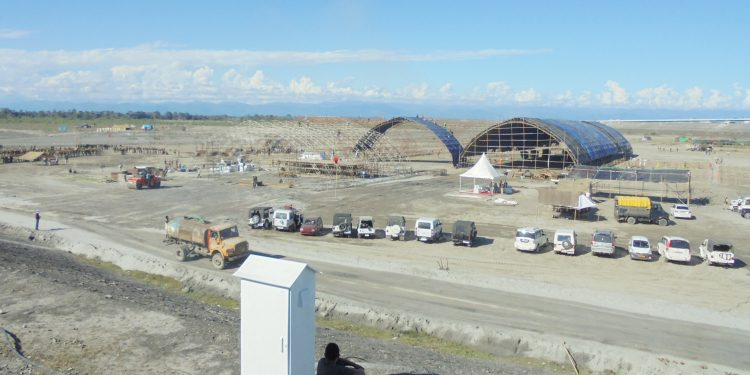 PM's meeting venue at Kareng chapori on north bank of Brahmaputra as seen on Friday: Image credit: Northeast Now