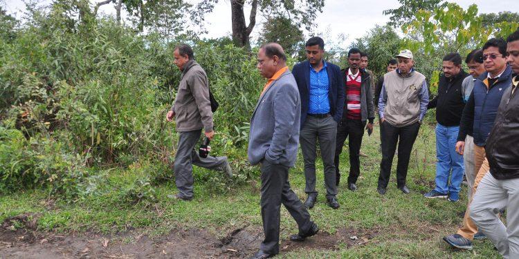 Forest Minister Parimal Suklabdya at Kaziranga National Park on Tuesday. Image credit: UB Photos
