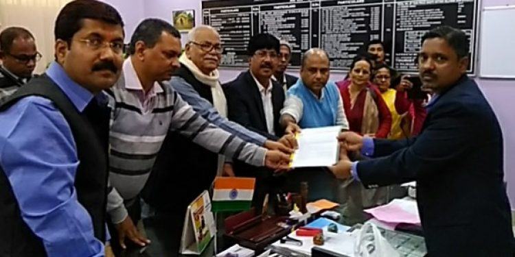 Leaders of BJP Cachar submitting a memorandum to the President of India through DC Cachar