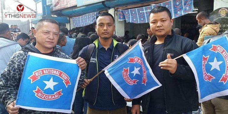 MNF supporters celebrating victory in Aizawl.