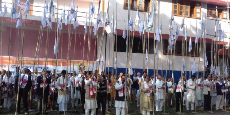 One hundred flags of Asom Sahitya Sabha hoisted to mark the beginning of centenary celebration of Mangaldai Sahitya Sabha. Photo: Northeast Now