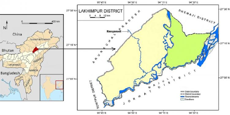 Map of Lakhimpur district showing Ranganadi River. Image credit: Courtesy: Gitartha Kaushik.