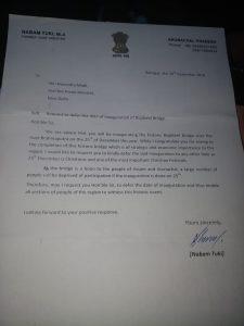 Nabam Tuki letter