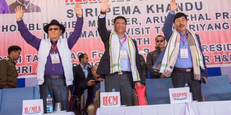 Arunachal Pradesh Chief Minister, Pema Khandu in the rally. Photo: Northeast Now.