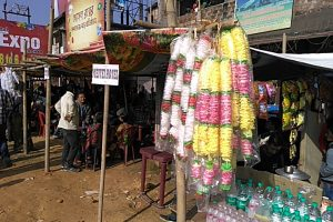 Plastic garlands takes centre stage in a paan shop outside Silchar's ISBT