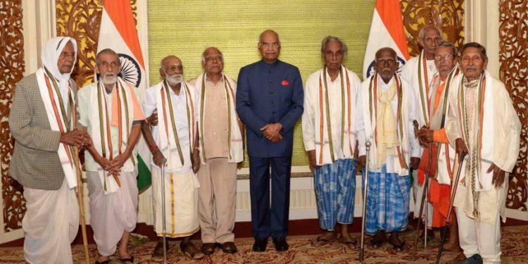 President Kovind with INA veterans