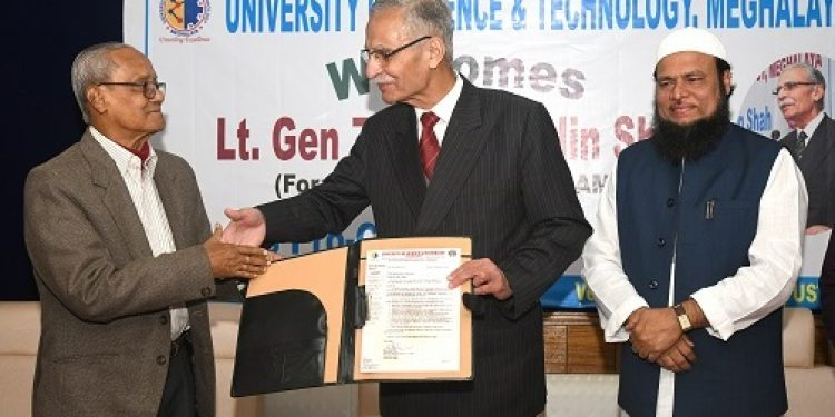 Principal Advisor of USTM Prof Nirmal Kumar Choudhury handing over the appointment letter to Lt. Gen Zameer Uddin Shah in the presence of M Hoque, Chancellor of USTM as Shah joined as the ProChancellor