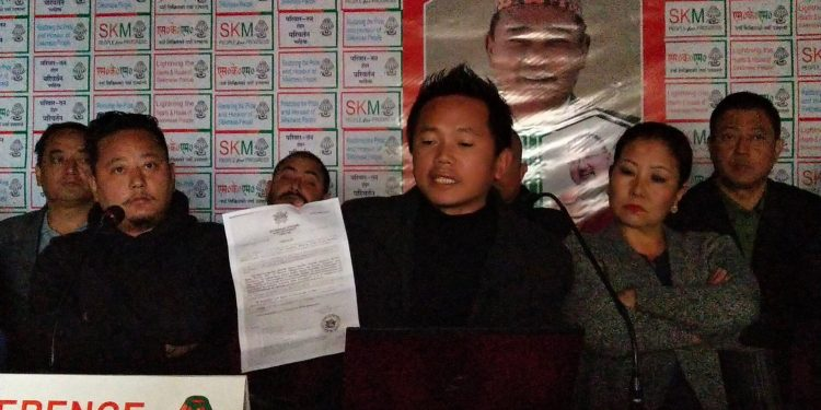 The opposition SKM hold Press conference in Gangtok. Photo: Northeast Now