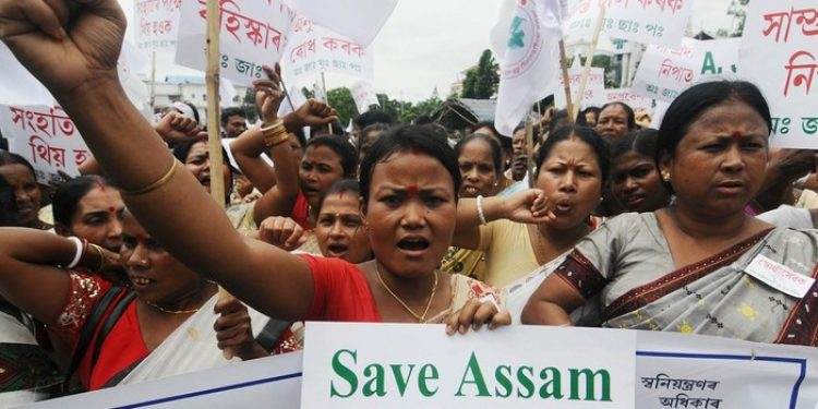 A protest a rally being taken out against Bangladeshi nationals illegally staying in Assam, in Guwahati. (File image)