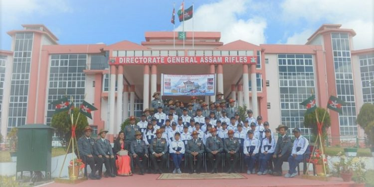The group of 26 students and seven teachers from N-E states with DGAR at the flagging off ceremony in Shillong.
