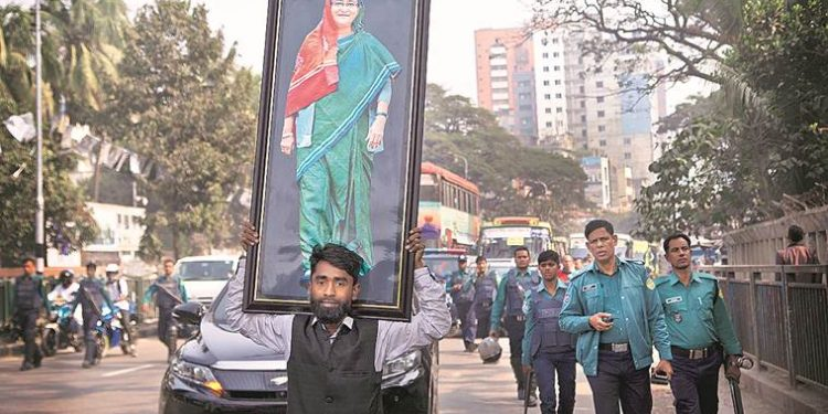 An Awami League supporter in Dhaka on Thursday.
