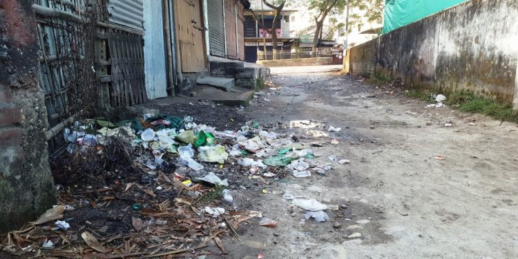 The garbage dumped by people gathered for panchayat polls votes counting in North Lakhimpur. Photo: Northeast Now