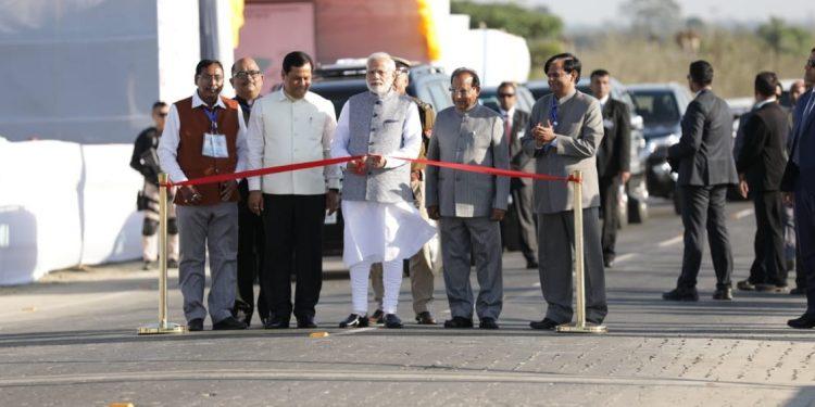 Prime Minister Narendra Modi inaugurating Bogibeel Bridge over Brahmaputra River at Bogibeel on Tuesday afternoon. Photo credit: DIPR, Assam.
