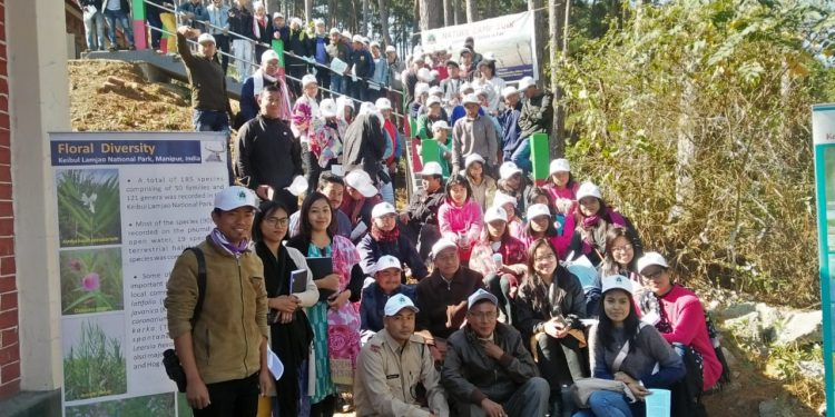 Participants in the two-day nature camp at Keibul Lamjao National Park in Manipur.  Image: Northeast Now.