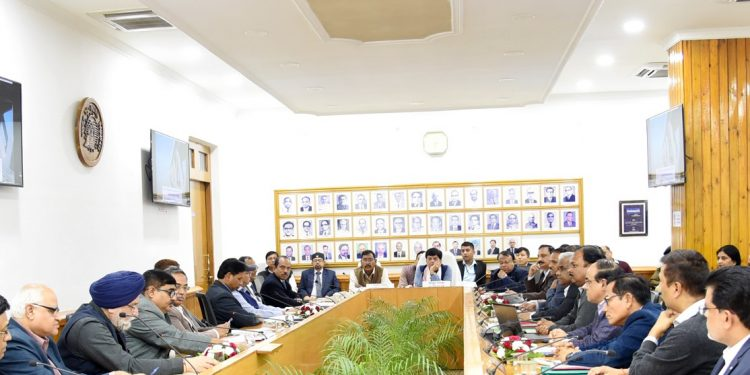 Railway Minister, Piyush Goyal reviews railway projects under NF Railway in a meeting with officials on Saturday evening at the NFR headquarters at Maligaon in Guwahati. Photo: Courtesy: NF Railway.