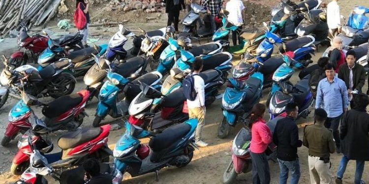Two-wheelers sans registration plates seized in Itanagar by police. Photo: Northeast Now.