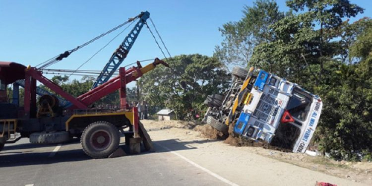Assam: North Lakhimpur traffic affected as trucks skids off highway