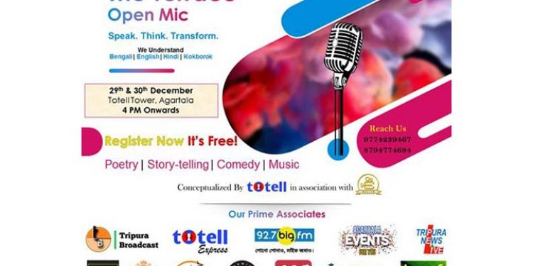 Totell to host The Terrace – Open Mic event in Agartala on Dec 29-30