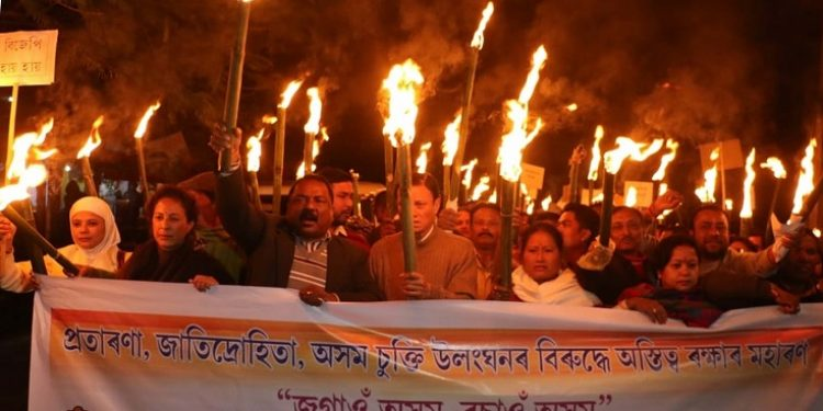 A torch light rally being taken out in Jorhat against Citizenship Bill on Monday. Image: UB Photos