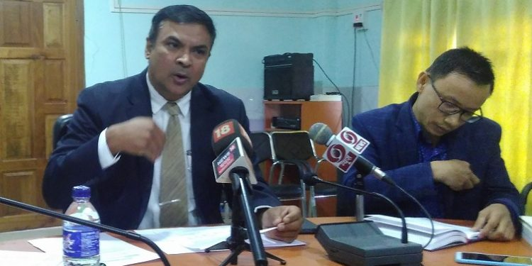 CEO Manipur PK Singh speaking to media persons in Imphal on thursday..