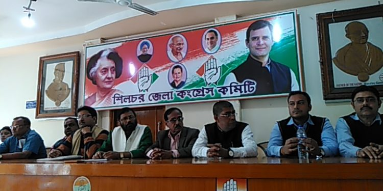 Cachar District Congress Committee members addressing the press on Wednesday afternoon ahead of PM Modi's visit to Silchar on 4th January next