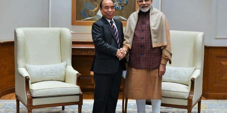 Zoramthanga with Modi