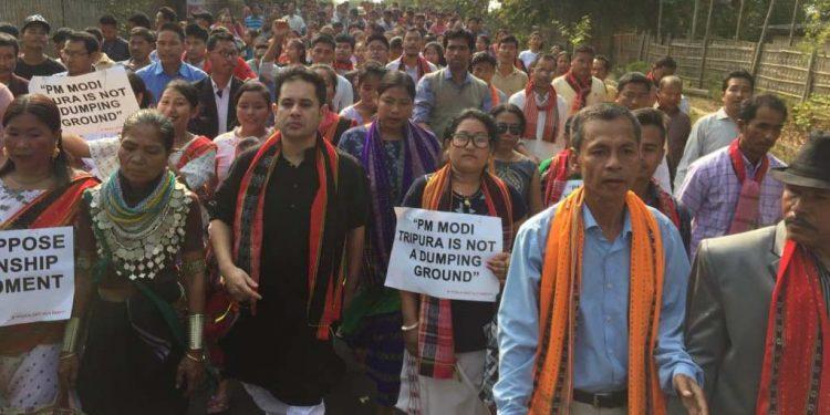 Tripura protest rally