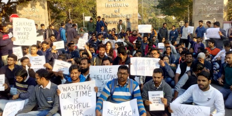 IIT-Guwahati research scholars stage demonstration in the campus demanding hike in Fellowship. Image :Northeast Now.