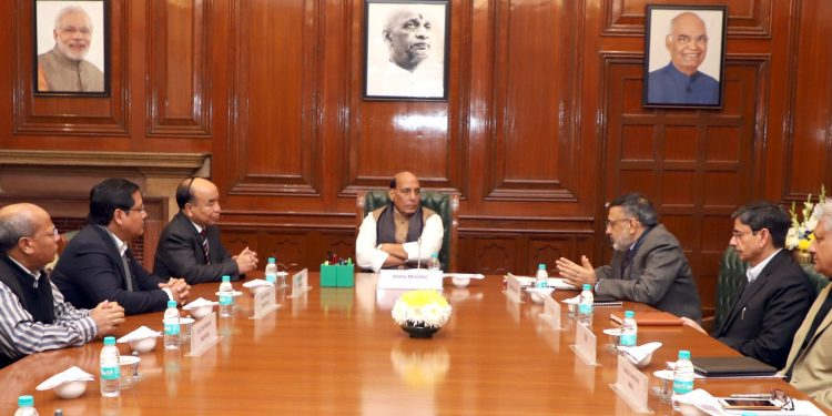 Union Home Minister Rajnath Singh in a meeting with Meghalaya CM Condrad Sangma and Mizoram CM Zoramthanga in New Delhi on Friday.