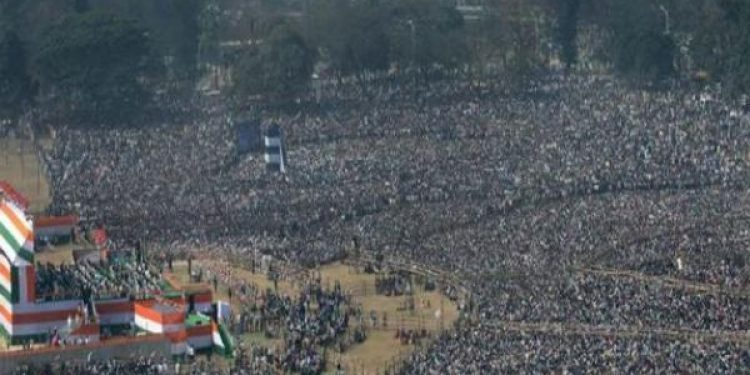 Lakhs of people gather for Opposition's show of unity at Kolkata's Brigade Parade grounds on Saturday.